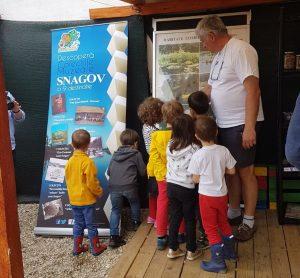 Copiii ascultă explicațiile ghidului.