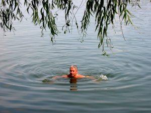 Înot la Vila 23 (la micul ponton dintre salcii) - care au fost tăiate/distrus prin 2010